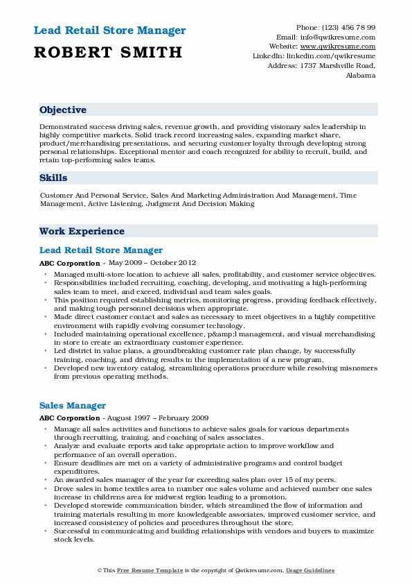 Lead Retail Store Manager Resume Model