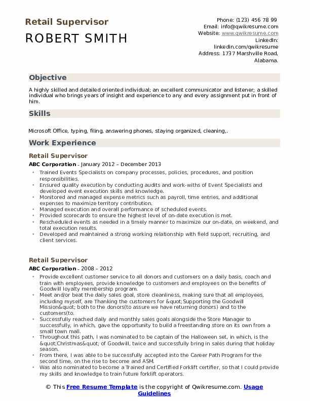Retail Supervisor Resume Samples Qwikresume