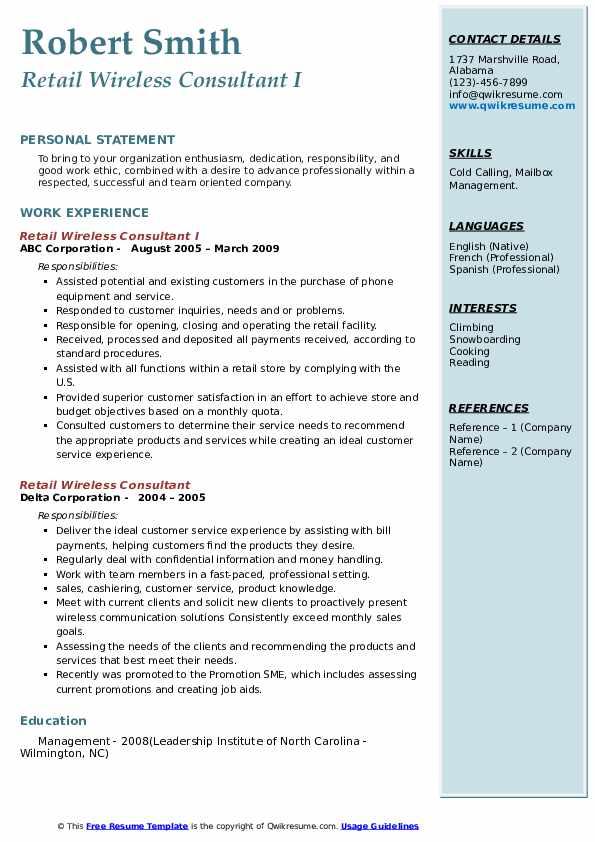 Retail Wireless Consultant Resume example