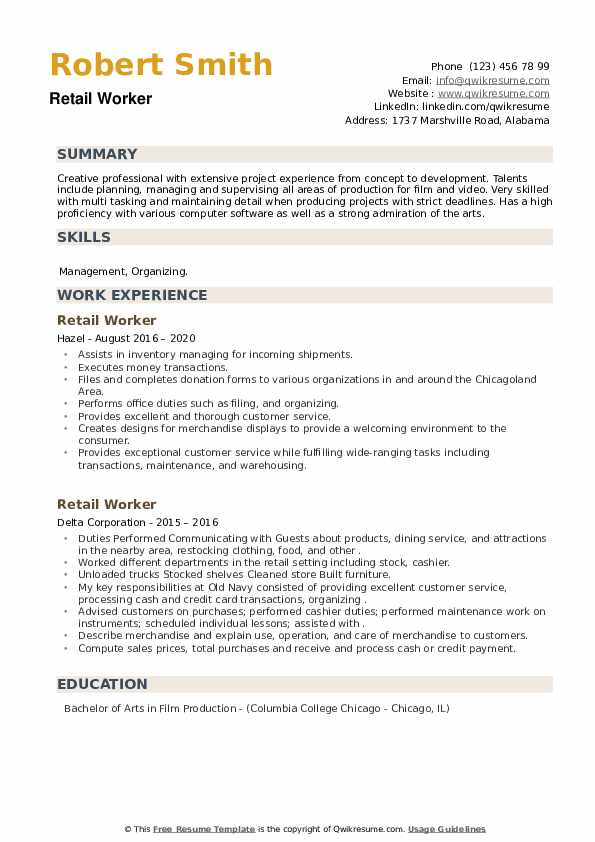 Retail Worker Resume example
