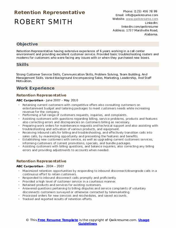 Retention Representative Resume Model
