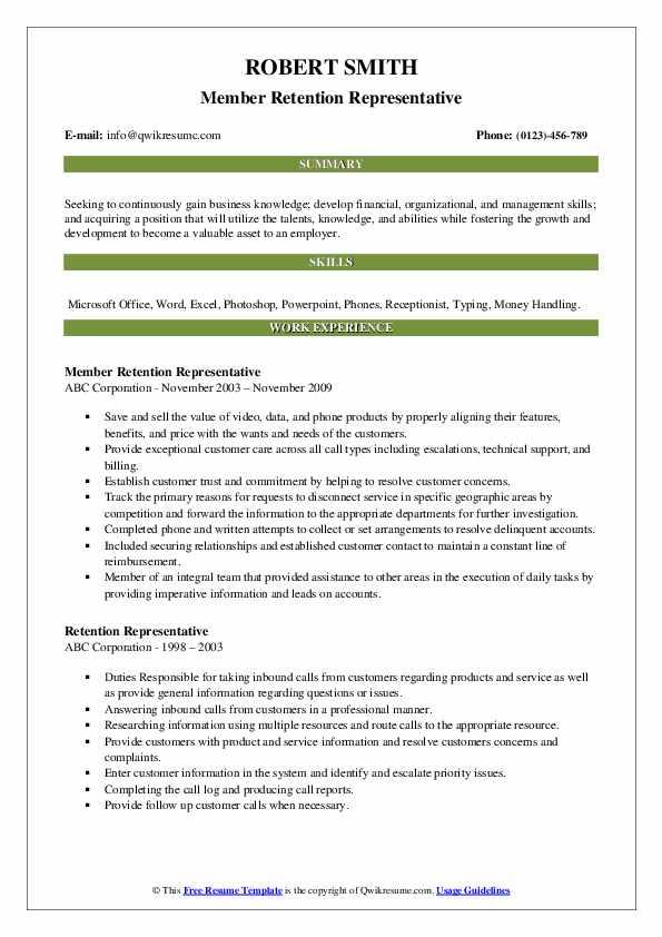 Member Retention Representative Resume Model