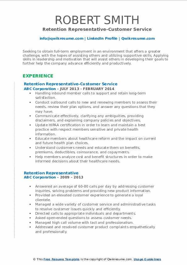 Retention Representative-Customer Service Resume Model