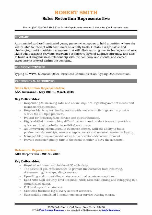 Sales Retention Representative Resume Format