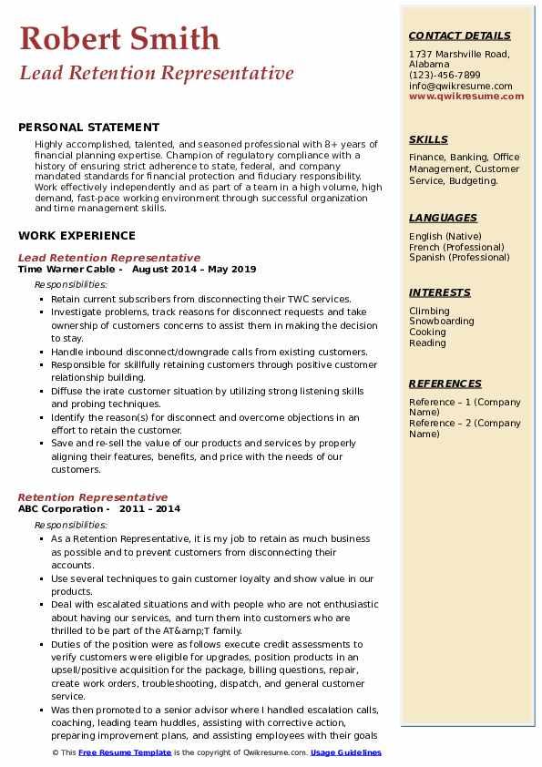 Lead Retention Representative Resume Sample