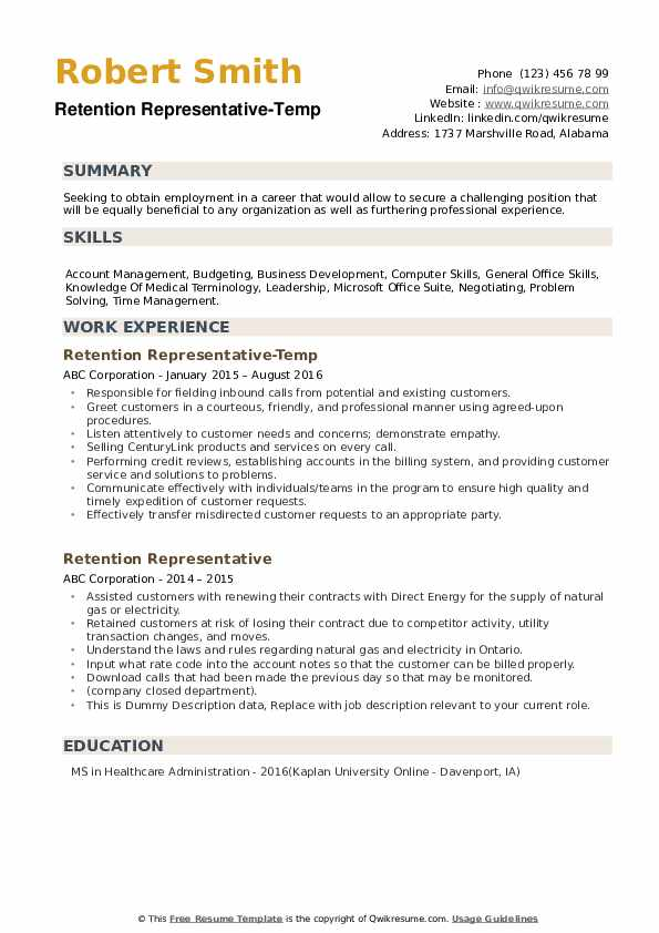 Retention Representative-Temp Resume Sample