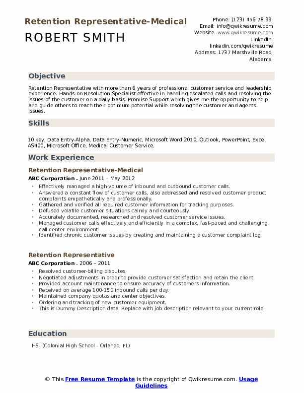 Retention Representative-Medical Resume Template