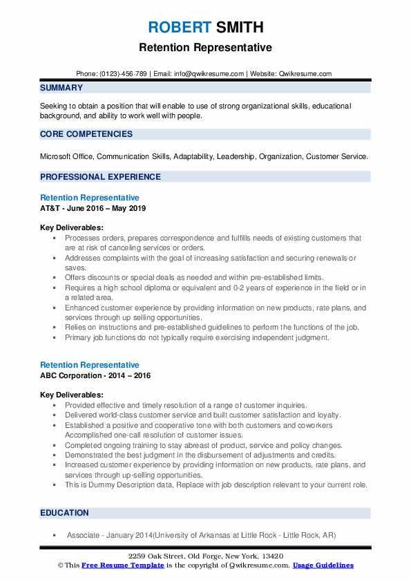 Retention Representative Resume example
