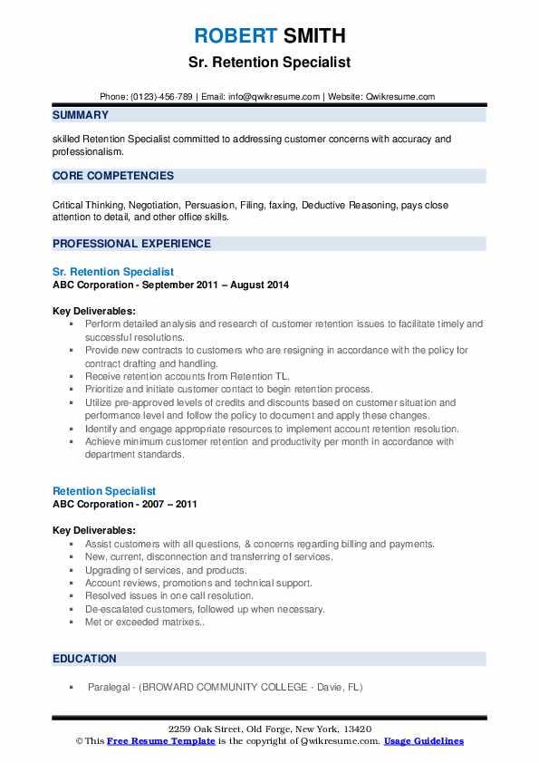 Sr. Retention Specialist Resume Model