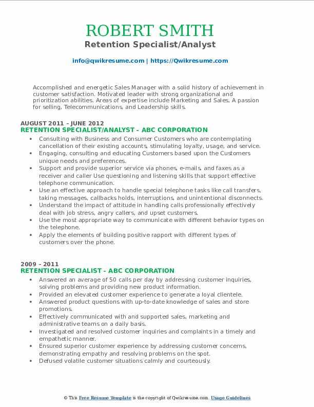 Retention Specialist/Analyst Resume Sample