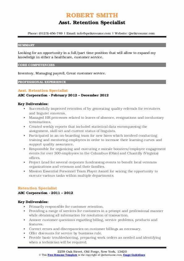 Asst. Retention Specialist Resume Template