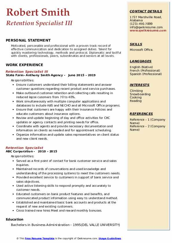 retention specialist resume samples