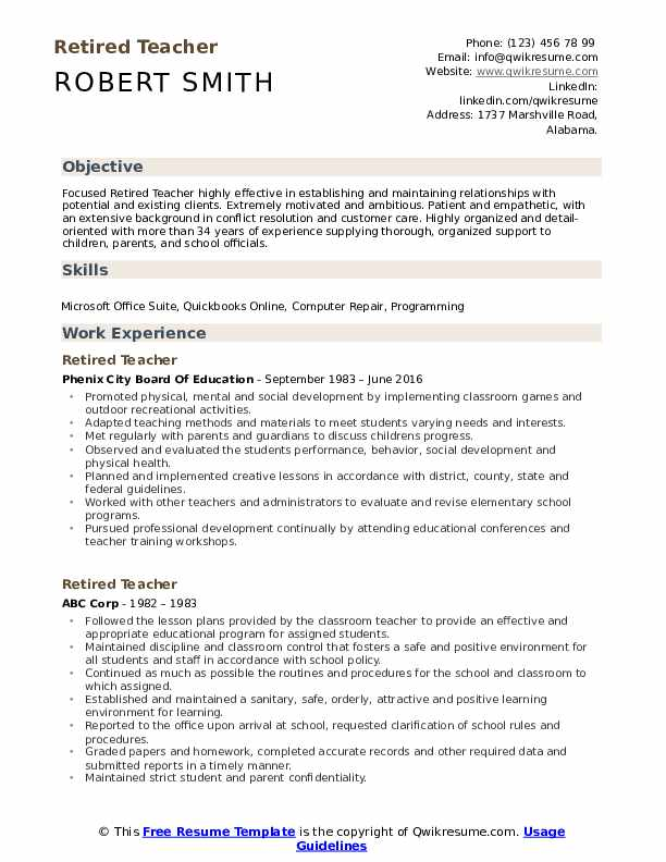 Retired Teacher Resume Format