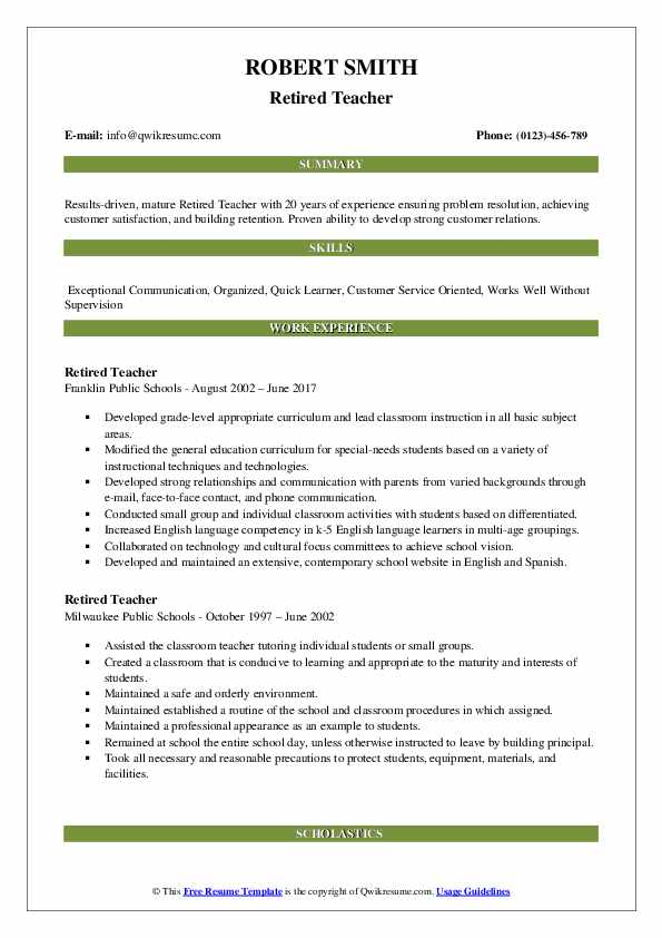 Retired Teacher Resume Example