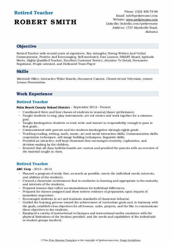 Retired Teacher Resume Samples Qwikresume