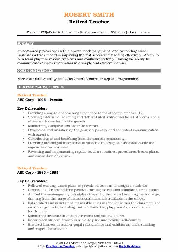 Retired Teacher Resume Sample