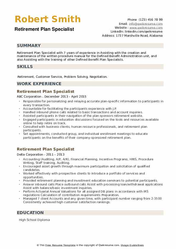 Retirement Plan Specialist Resume example
