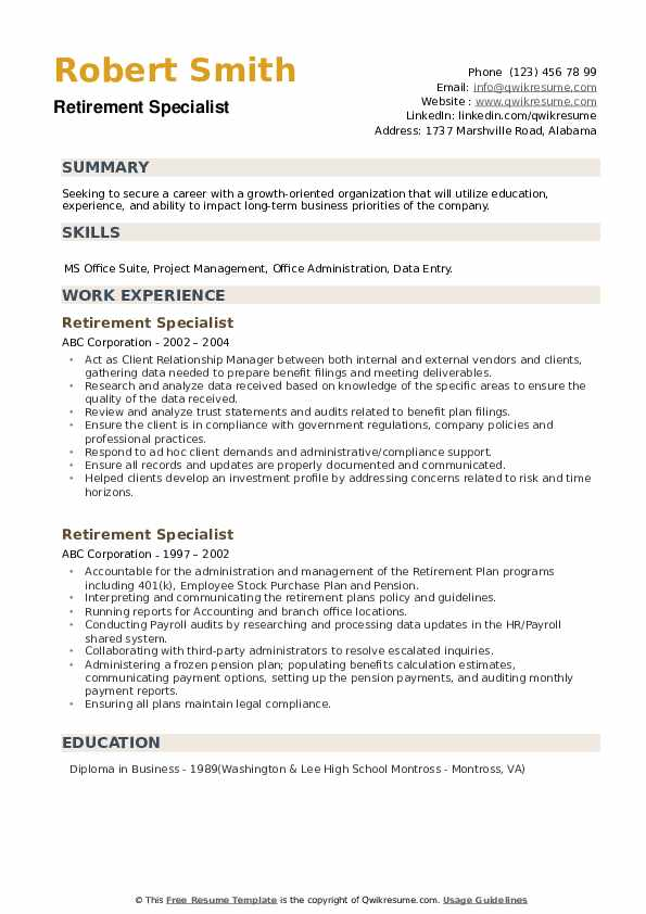 Retirement Specialist Resume example