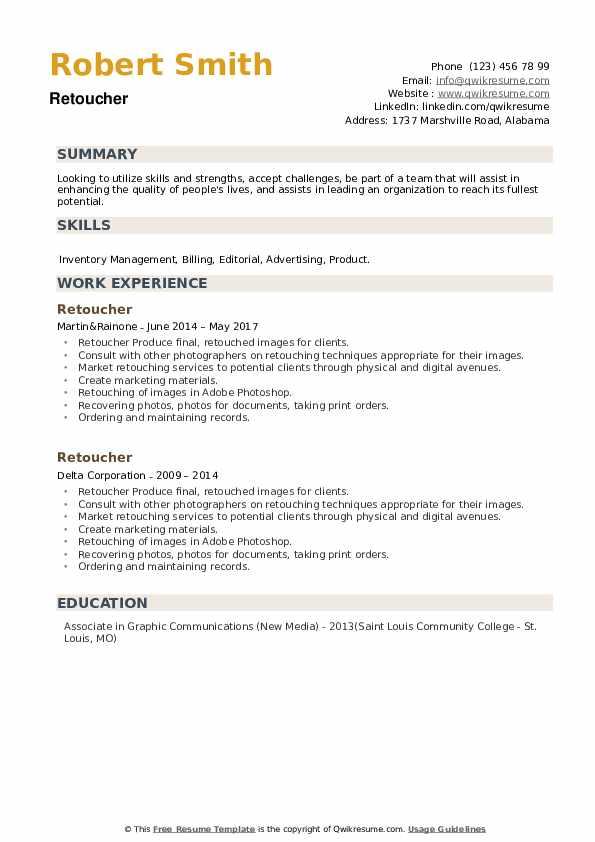 Retoucher Resume example
