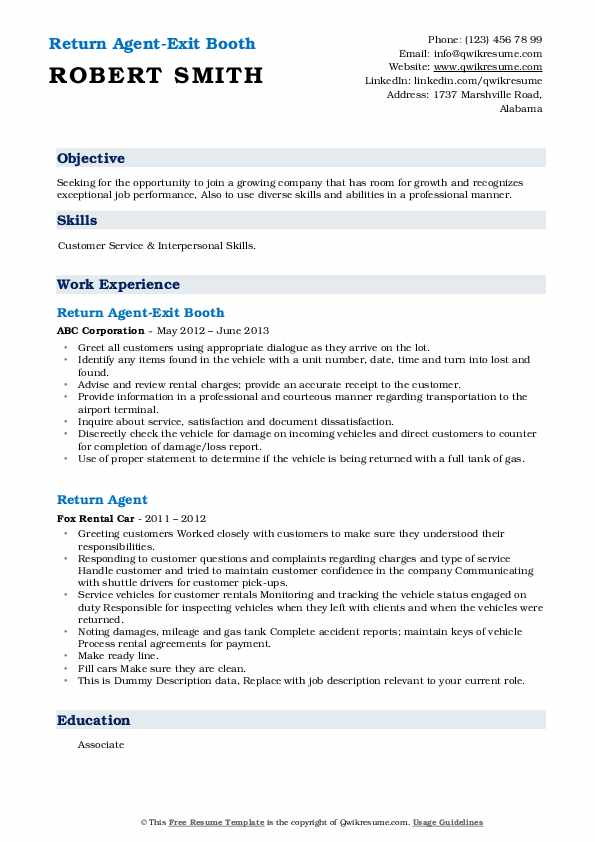 Return Agent-Exit Booth Resume Model