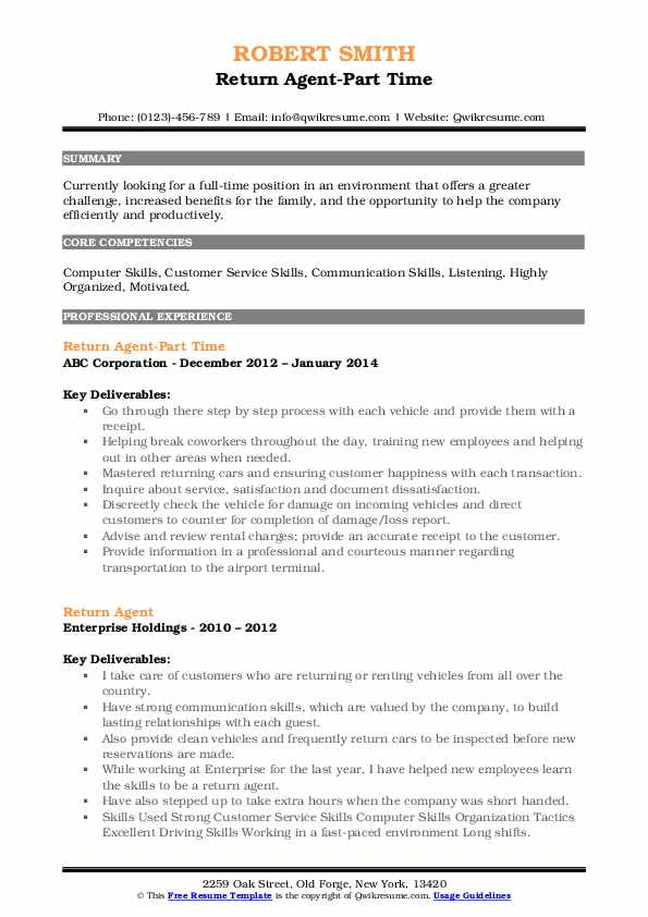 Return Agent-Part Time Resume Example