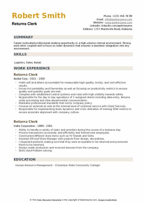 Returns Clerk Resume example
