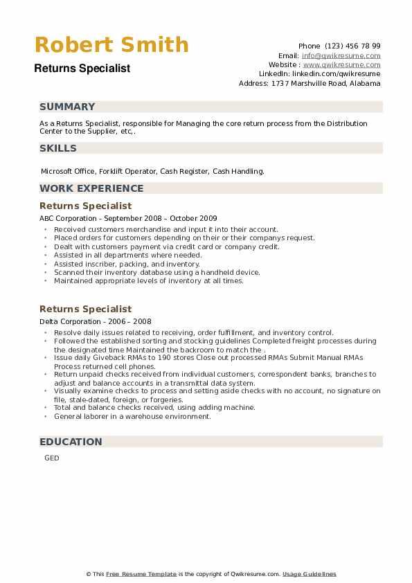 Returns Specialist Resume example