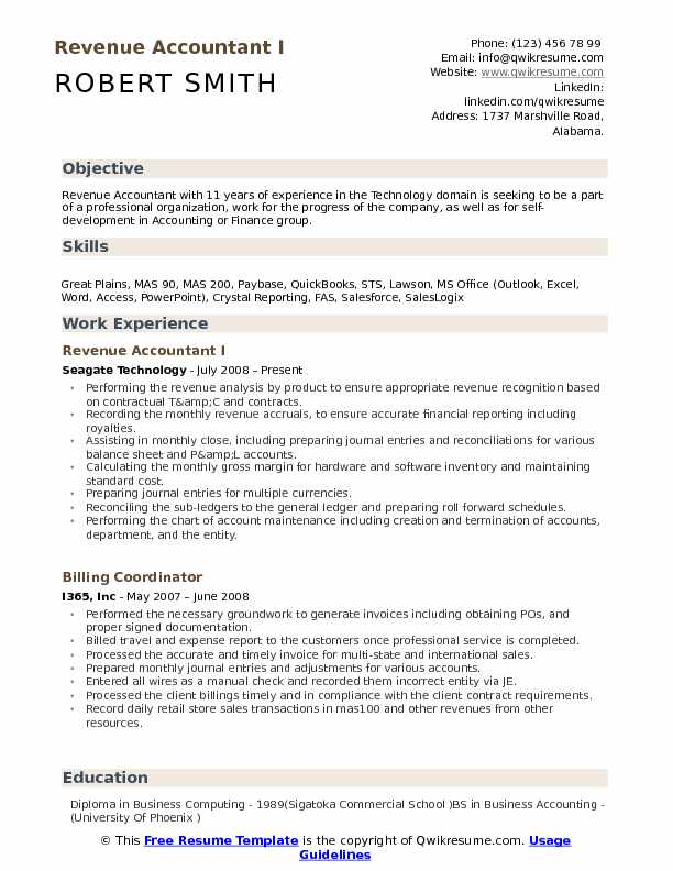 Revenue Accountant Resume Samples | QwikResume