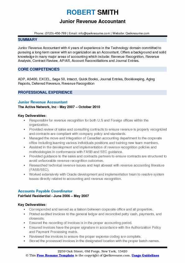 Revenue Accountant Resume Samples | QwikResume