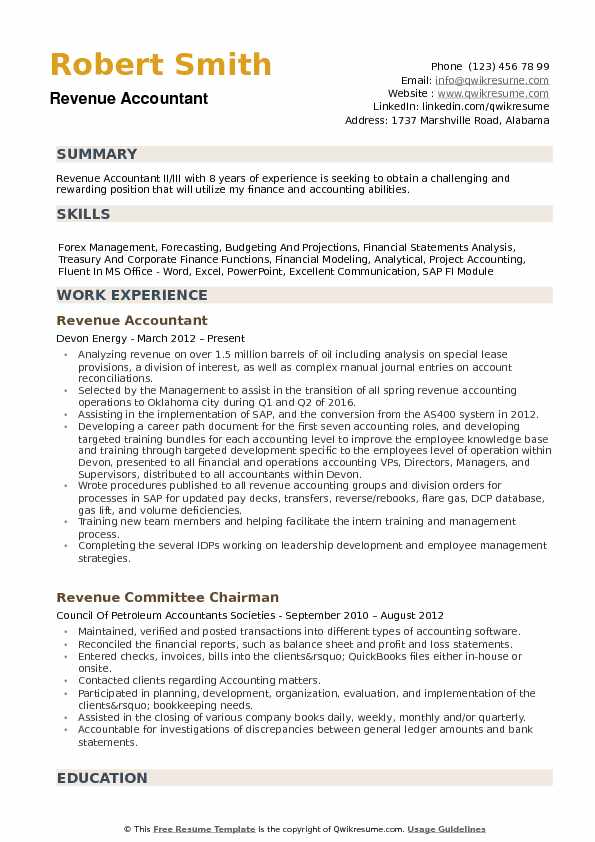 Revenue Accountant Resume Samples
