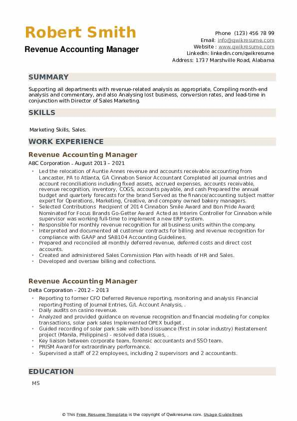 Revenue Accounting Manager Resume example