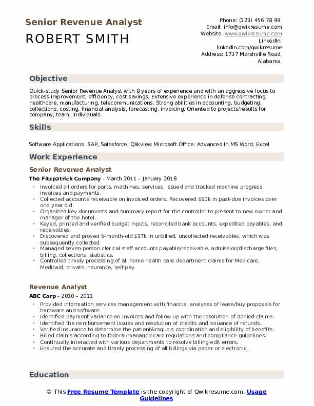 Senior Revenue Analyst Resume Model