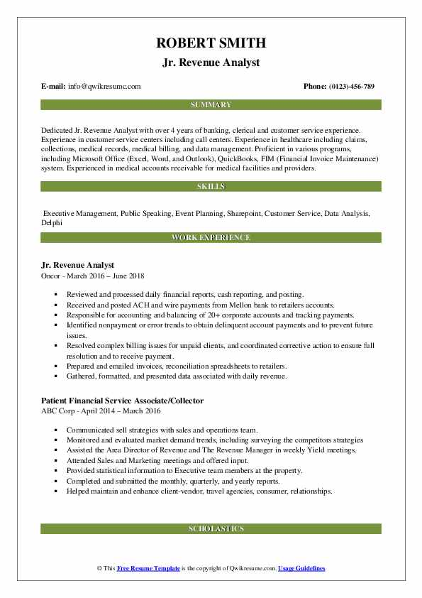 Jr. Revenue Analyst Resume Model