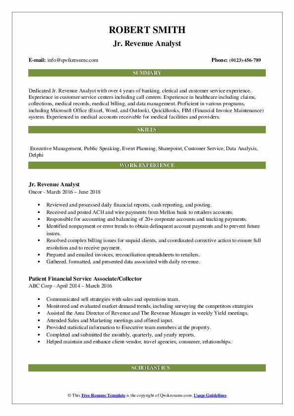 Jr. Revenue Analyst Resume Sample