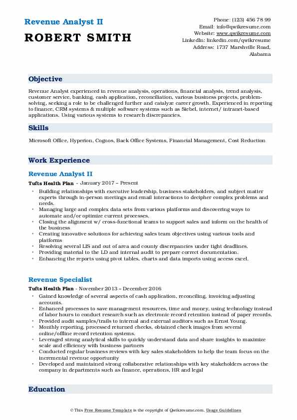 Revenue Analyst II Resume Sample
