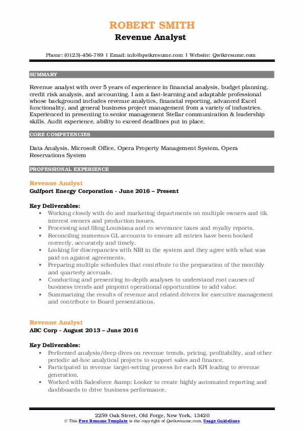 Revenue Analyst  Resume Template