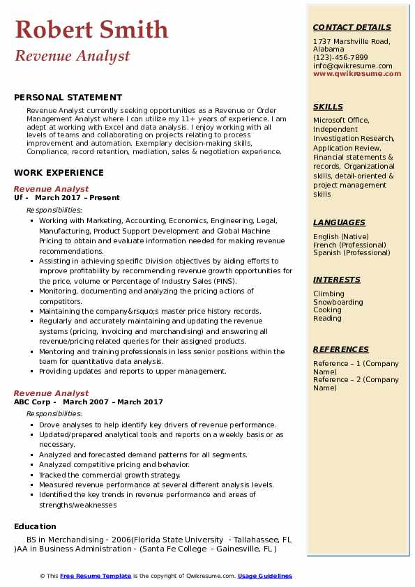 Revenue Analyst Resume Format