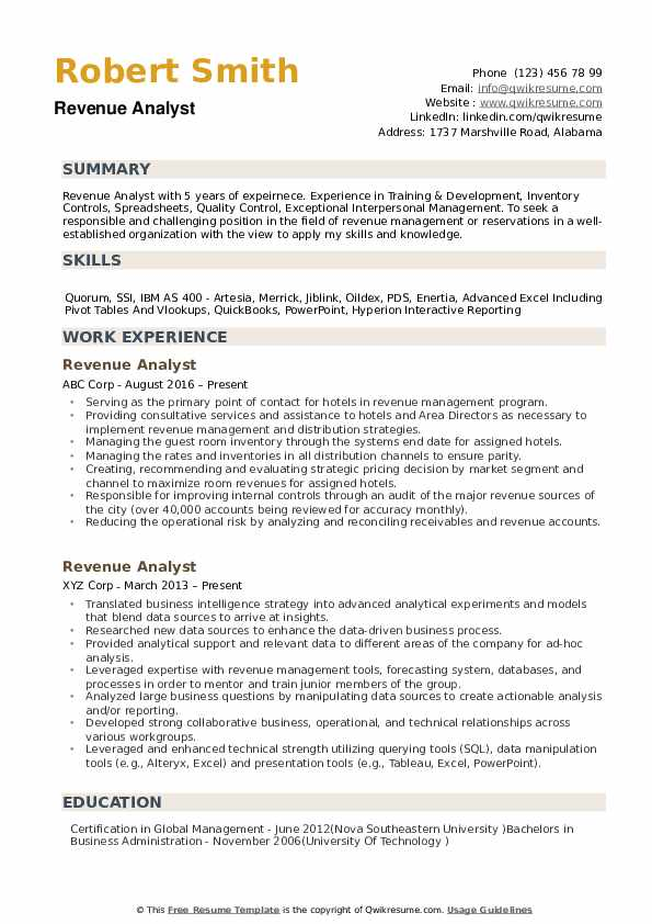 Revenue Analyst Resume example