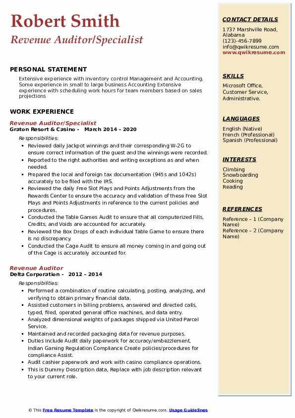Revenue Auditor Resume Samples Qwikresume