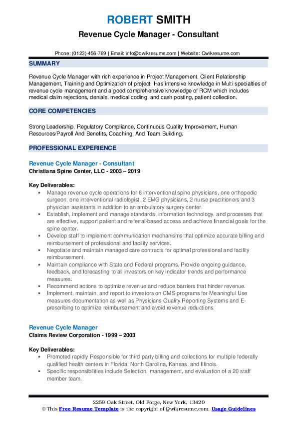 Revenue Cycle Manager - Consultant Resume Example