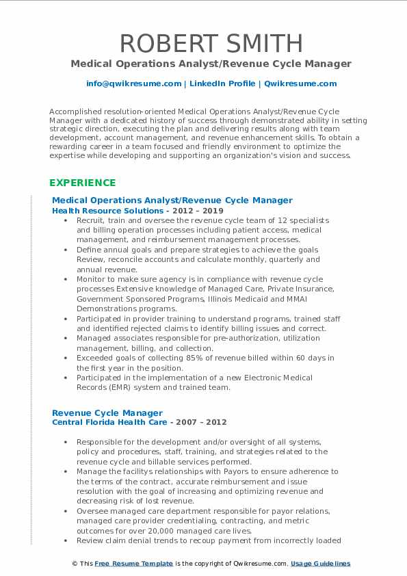 Medical Operations Analyst/Revenue Cycle Manager Resume Model