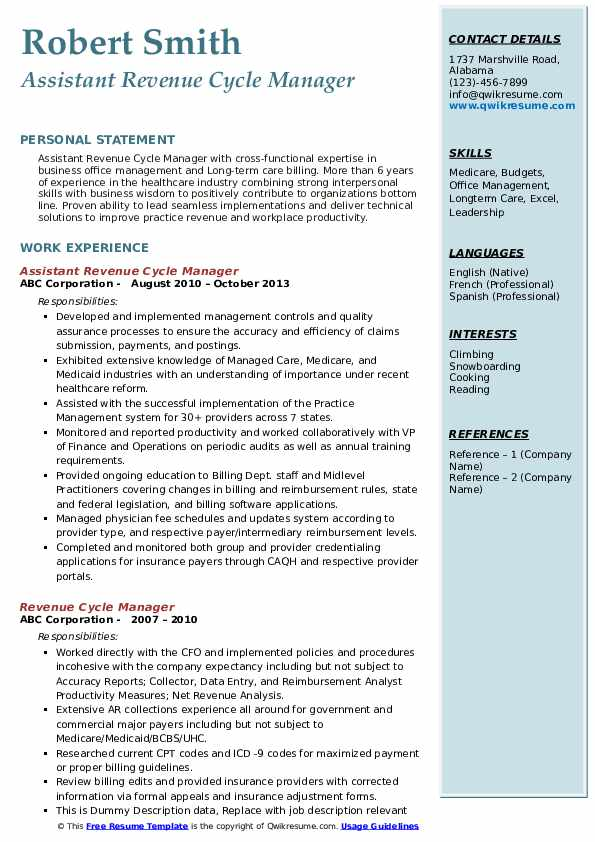 Assistant Revenue Cycle Manager Resume Format