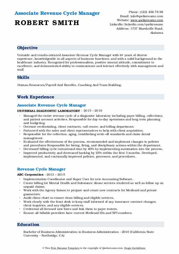 Associate Revenue Cycle Manager Resume Model