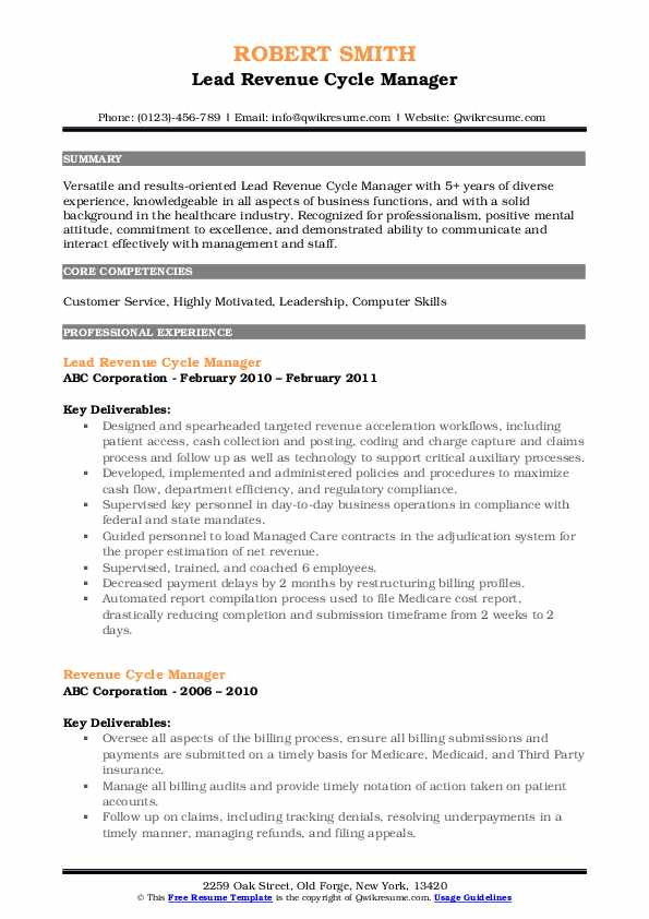 Lead Revenue Cycle Manager Resume Sample