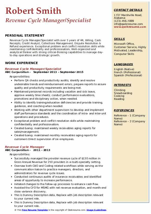 Revenue Cycle Manager/Specialist Resume Sample