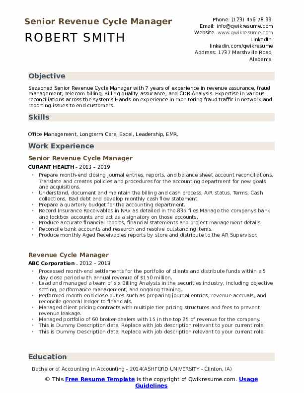 Revenue Cycle Manager Resume example