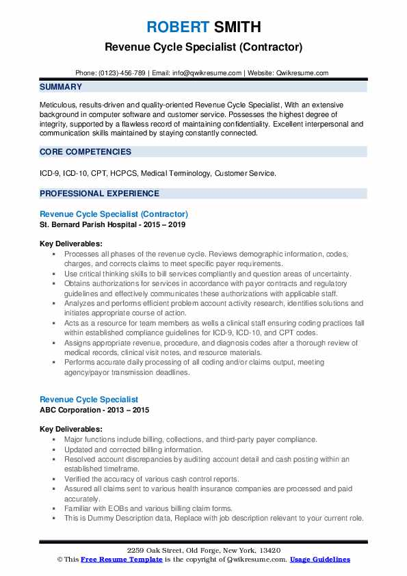 Revenue Cycle Specialist (Contractor) Resume Sample