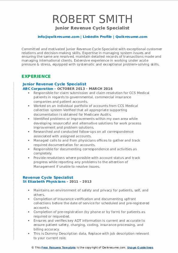 Junior Revenue Cycle Specialist Resume Template