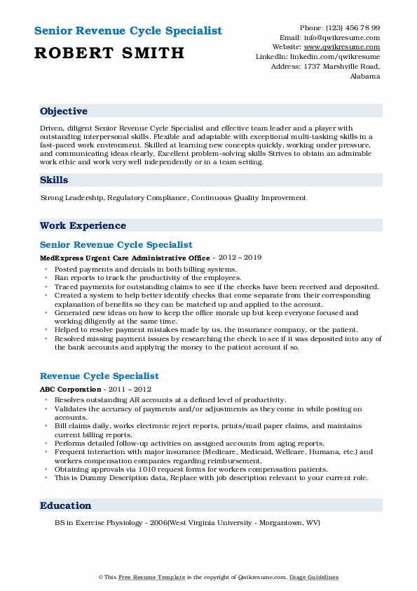 Senior Revenue Cycle Specialist Resume Sample
