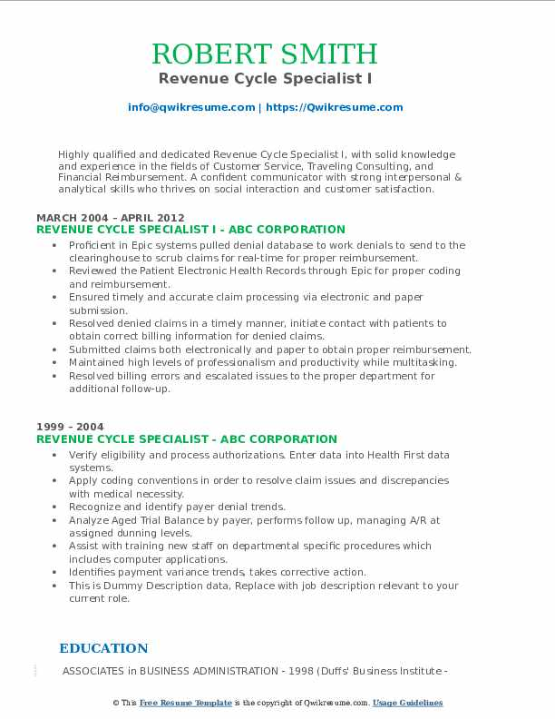 Revenue Cycle Specialist I Resume Template